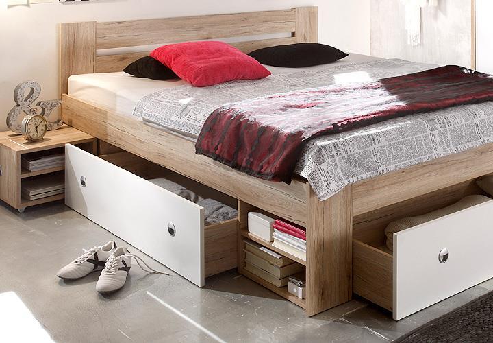 funktionsbett stefan san remo eiche wei 140x200. Black Bedroom Furniture Sets. Home Design Ideas