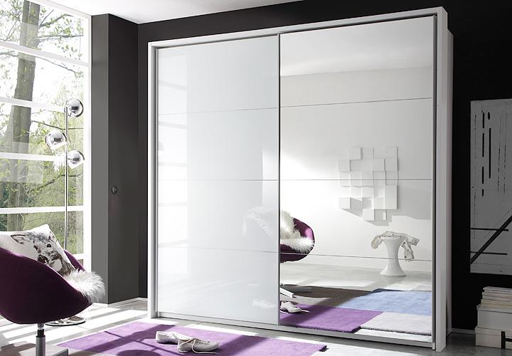 schwebet renschrank quattro wei glas spiegel. Black Bedroom Furniture Sets. Home Design Ideas