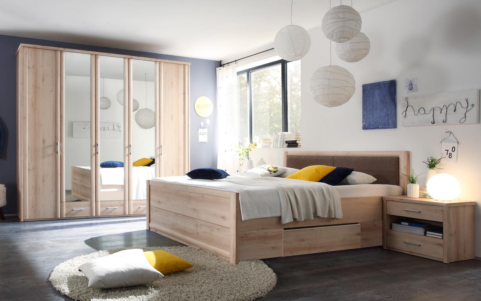 Schlafzimmer Classic Bett 180x200 Kleiderschrank 5-türig Spiegel ...