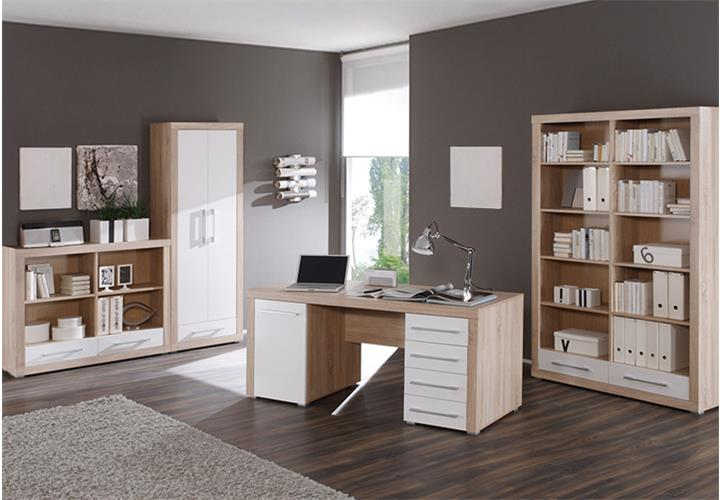 b ro cube b rom bel set 4 teilig wei und sonoma eiche dekor. Black Bedroom Furniture Sets. Home Design Ideas