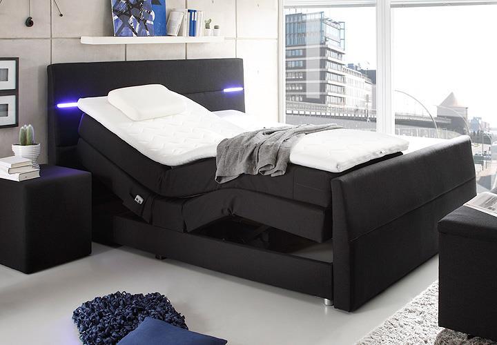 boxspringbett nebraska schwarz mit motor led und topper 180. Black Bedroom Furniture Sets. Home Design Ideas