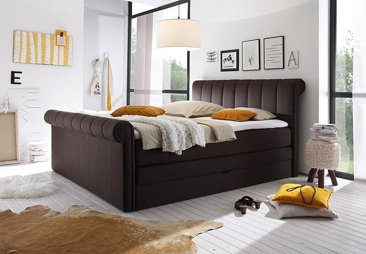 boxspringbett 3 california bett in braun mit topper 180x200. Black Bedroom Furniture Sets. Home Design Ideas