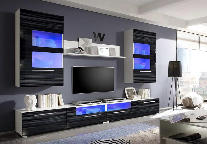 wohnwand corner sahara schwarz 3d folie wei mit led. Black Bedroom Furniture Sets. Home Design Ideas
