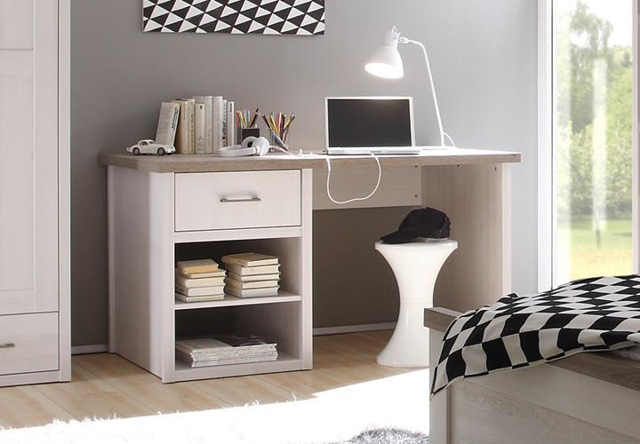 Schreibtisch jugendzimmer luca pinie wei und tr ffel for Jugendzimmer luca