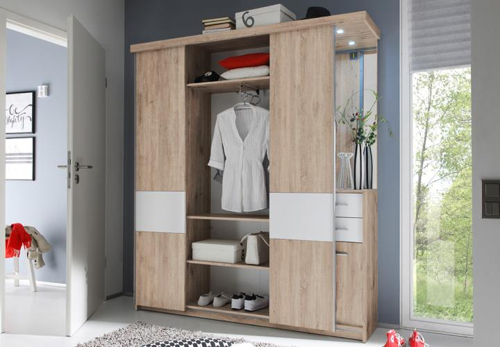 kompaktgarderobe swing garderobe sonoma eiche wei mit led. Black Bedroom Furniture Sets. Home Design Ideas