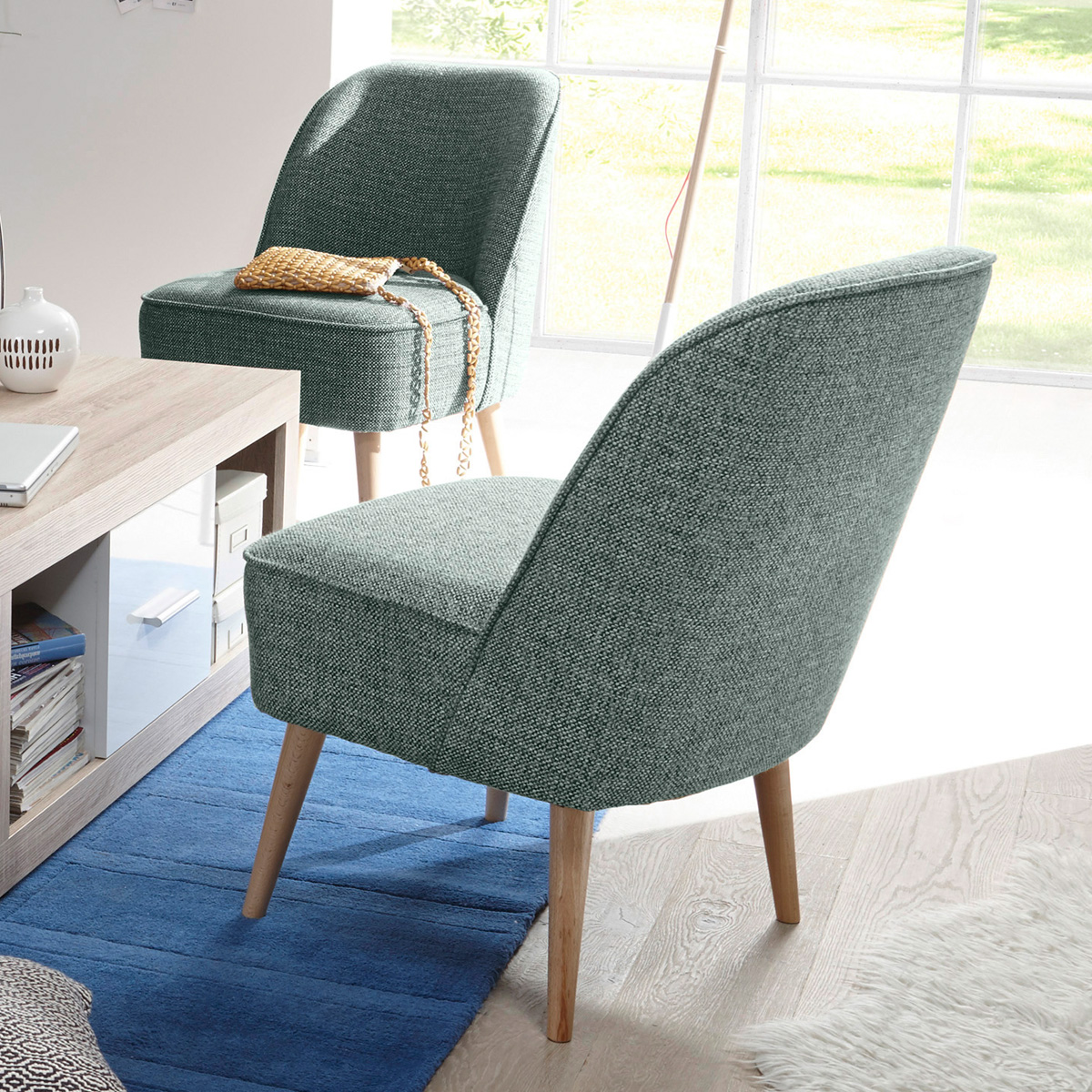 polsterstuhl pino esszimmerstuhl sessel in stoff gr n mit nosagfederung 54 cm 4250826357864 ebay. Black Bedroom Furniture Sets. Home Design Ideas