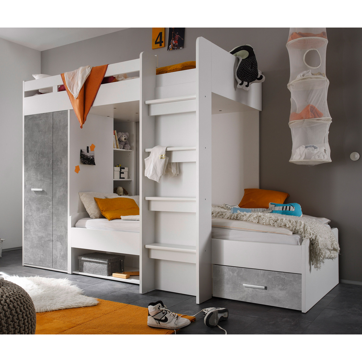 Etagenbett Maxi Kinderbett Hochbett Kinderzimmerbett Bett weiß Beton ...