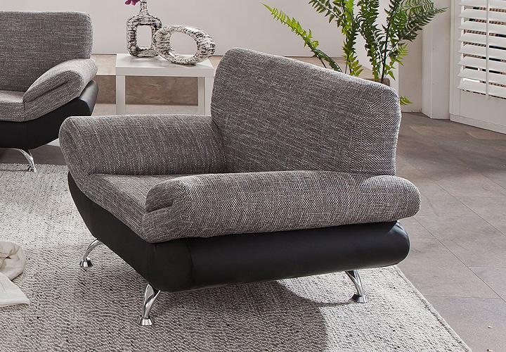 sessel parma einzelsessel polsterm bel in schwarz und grau magma 100 cm ebay. Black Bedroom Furniture Sets. Home Design Ideas