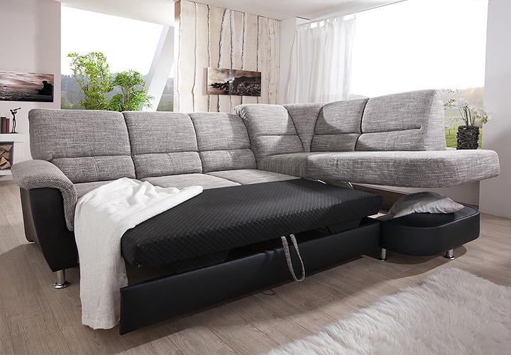 ecksofa pisa eckgarnitur sofa grau schwarz mit bettfunktion. Black Bedroom Furniture Sets. Home Design Ideas