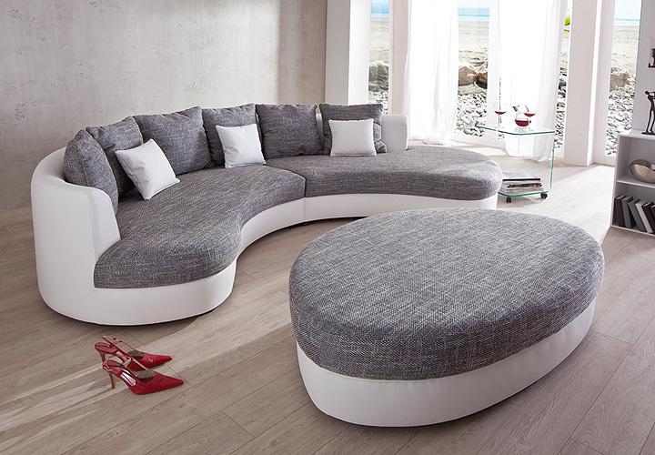 Wohnzimmer und Kamin wohnzimmer grau einrichten : Wohnlandschaft LIMONCELLO Sofa Polstermu00f6bel in weiu00df grau