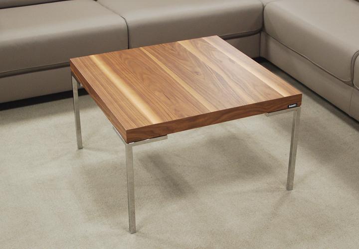 couchtisch rolf benz freistil 191 nussbaum 70x70 cm winkelfu chrom. Black Bedroom Furniture Sets. Home Design Ideas