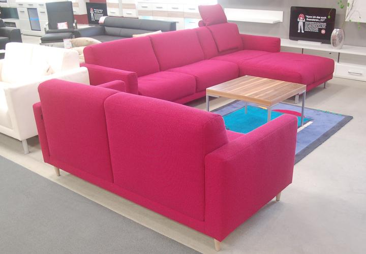 Rolf benz sofa freistil 141 stoff violettrot for Wohnwand rolf benz