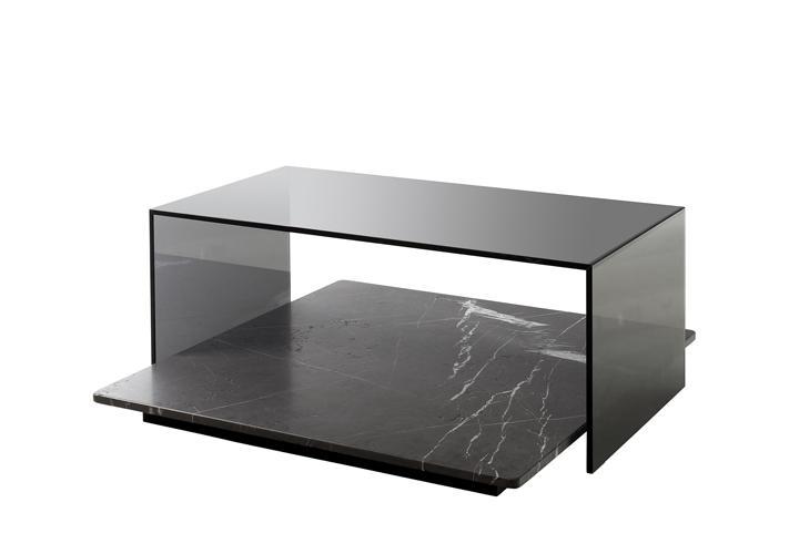 Couchtisch ROLF BENZ 970 Naturstein und Glas 97×90 cm