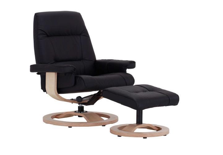 evano relaxsessel mit hocker schwarz leder buche natur massiv. Black Bedroom Furniture Sets. Home Design Ideas