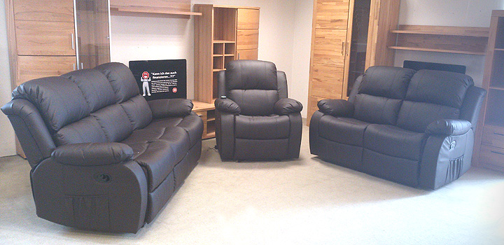 sofagarnitur lakos sofa polsterm bel mit relaxfunktion in braun ebay. Black Bedroom Furniture Sets. Home Design Ideas