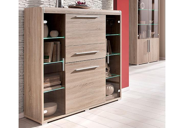highboard voltera buffetschrank schrank sonoma eiche aluoptik inkl beleuchtung ebay. Black Bedroom Furniture Sets. Home Design Ideas