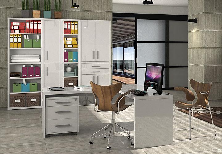 winkelschreibtisch skoro in wei hochglanz lackiert. Black Bedroom Furniture Sets. Home Design Ideas