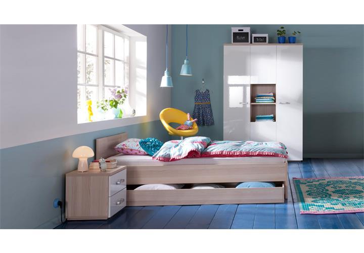 jugendzimmer calisma wei hochglanz und esche 4 teilig. Black Bedroom Furniture Sets. Home Design Ideas