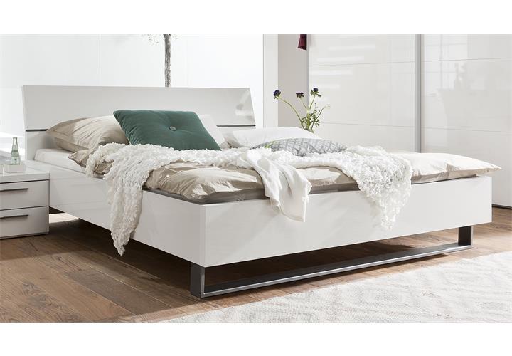 1x Bett ATTIMI Gestell: Weiß hochglanz lackiert Metallkufe Zerlegte ...