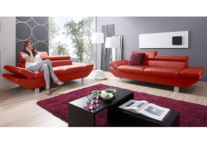 sofa garnitur carrier polsterm bel mit relaxfunkion in rot. Black Bedroom Furniture Sets. Home Design Ideas