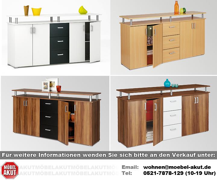 sideboard lios kommode anrichte in baltimore walnuss wei neu ebay. Black Bedroom Furniture Sets. Home Design Ideas