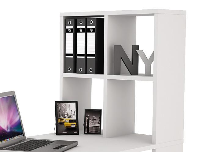 lexington schreibtisch mit regal in wei. Black Bedroom Furniture Sets. Home Design Ideas