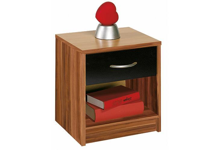 nachtkommode isis nachttisch nachtkonsole nussbaum schwarz neu ebay. Black Bedroom Furniture Sets. Home Design Ideas