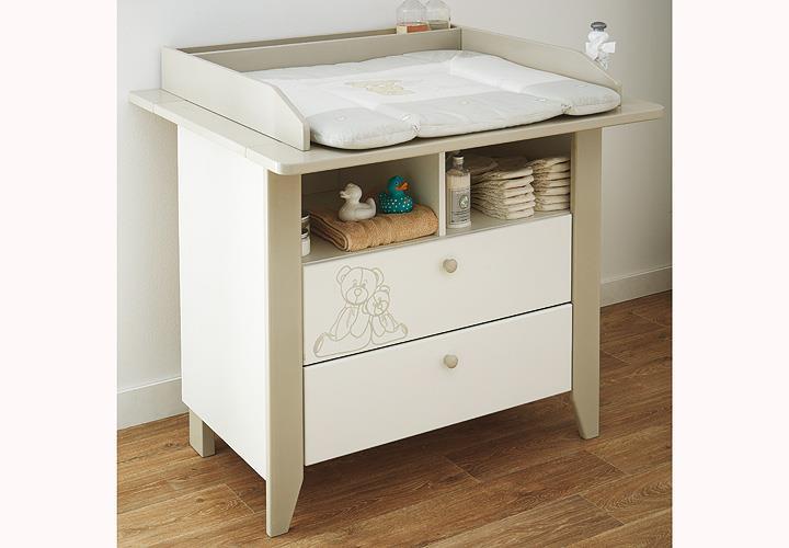 wickelkommode ourson samtwei und beige mit teddy b r motiv. Black Bedroom Furniture Sets. Home Design Ideas