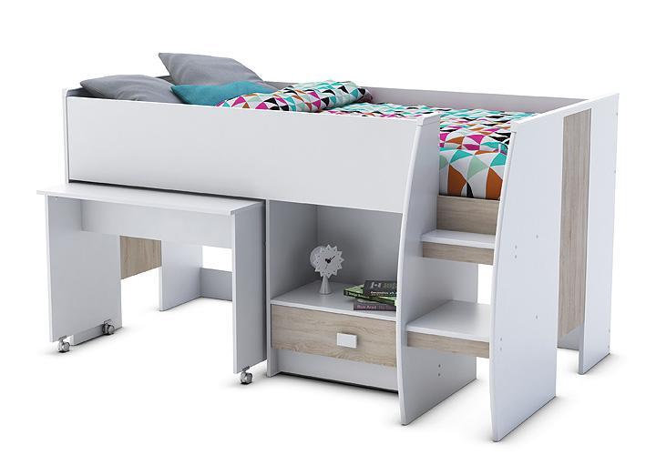 kompaktbett axel hochbett wei sonoma eiche 90x200 cm. Black Bedroom Furniture Sets. Home Design Ideas