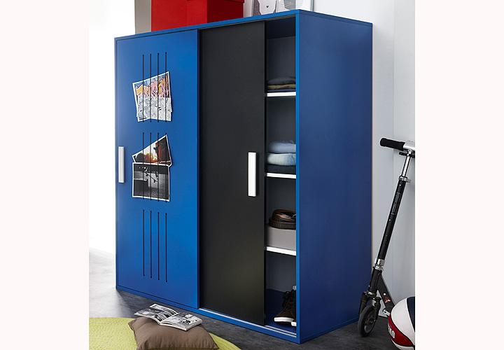 highboard texto kommode kleiderschrank in blau und schwarz. Black Bedroom Furniture Sets. Home Design Ideas