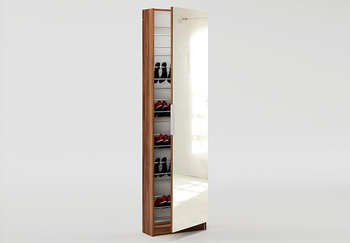 schuhschrank zapatero mit spiegelt r in kernnuss dekor ebay. Black Bedroom Furniture Sets. Home Design Ideas