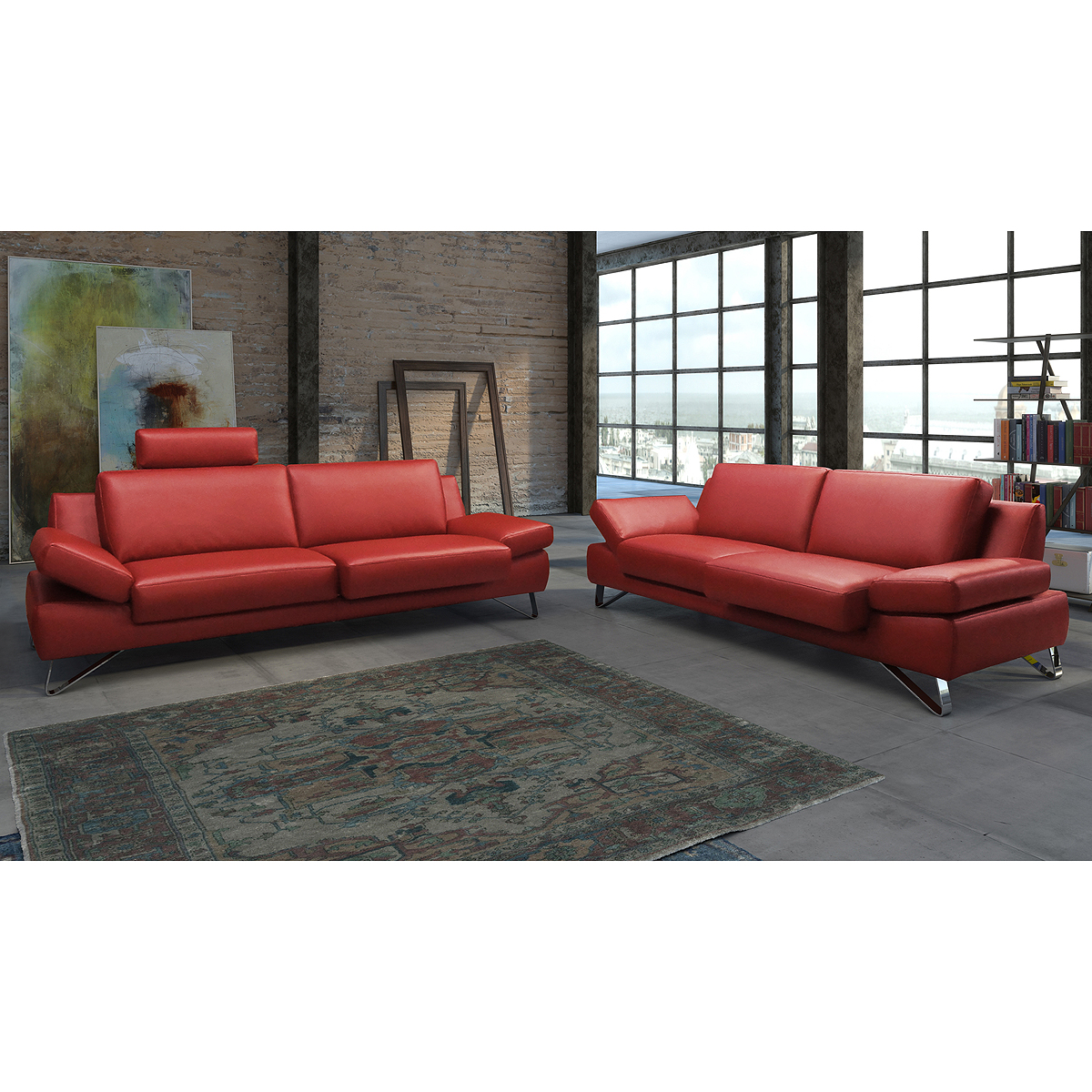 sofagarnitur finest sofa garnitur polsterm bel leder kaminrot rot mit funktionen eur. Black Bedroom Furniture Sets. Home Design Ideas