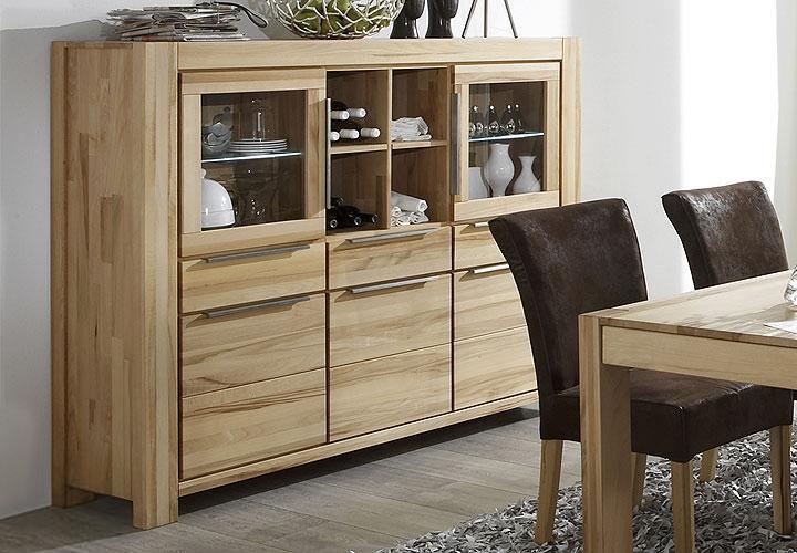 highboard nena sideboard vitrine in kernbuche massiv ge lt. Black Bedroom Furniture Sets. Home Design Ideas