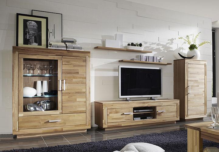 agumon wohnwand kernbuche teilmassiv ge lt. Black Bedroom Furniture Sets. Home Design Ideas