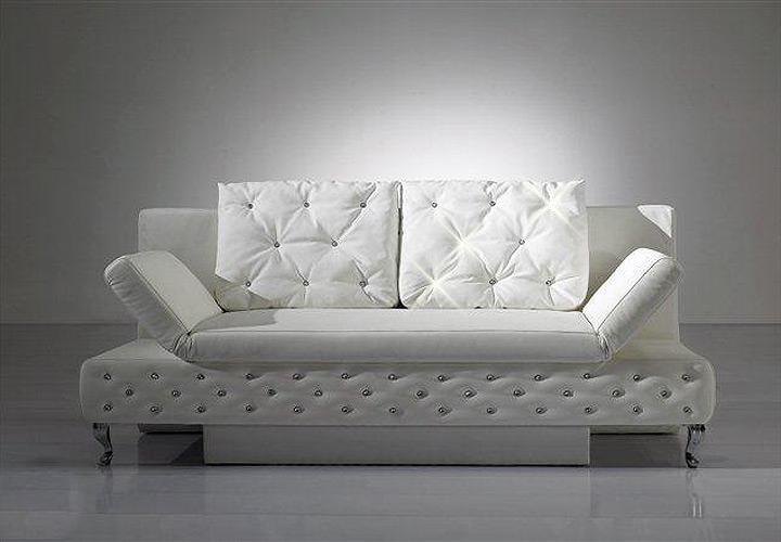 schlafsofa cash sofa in wei mit bettfunktion ebay. Black Bedroom Furniture Sets. Home Design Ideas
