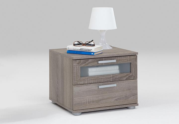 nachtkonsole jack 1 sonoma eiche s gerau dunkel glas satiniert wei. Black Bedroom Furniture Sets. Home Design Ideas
