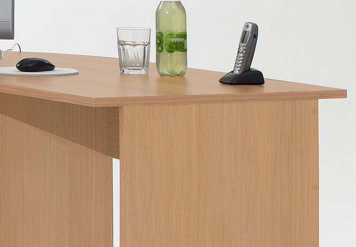 Schreibtisch kombi till pc tisch winkelkombination in buche for Schreibtisch abgerundet
