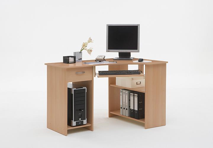 computertisch felix 1 eck schreibtisch pc tisch in buche. Black Bedroom Furniture Sets. Home Design Ideas