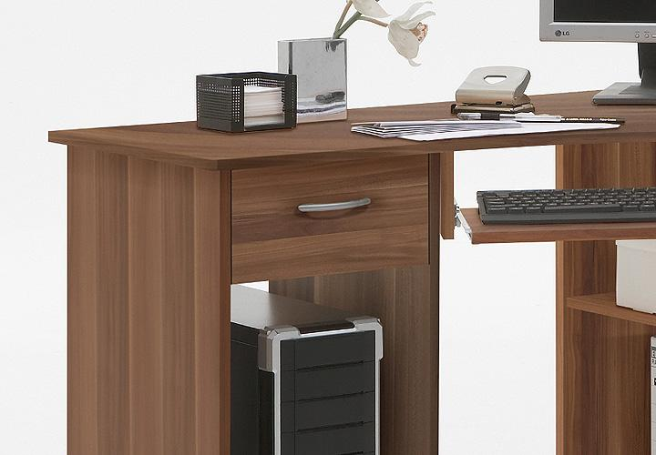 computertisch felix 1 eck schreibtisch pc tisch in nussbaum. Black Bedroom Furniture Sets. Home Design Ideas