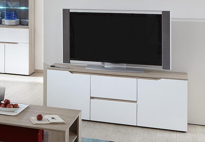 diva lowboard sonoma eiche s gerau wei hochglanz. Black Bedroom Furniture Sets. Home Design Ideas
