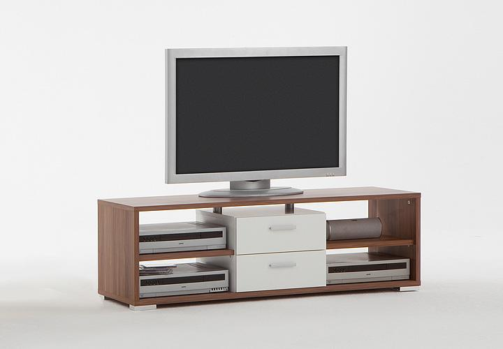 tv board nemo lowboard tv regal unterschrank tv hifi element in nussbaum wei. Black Bedroom Furniture Sets. Home Design Ideas