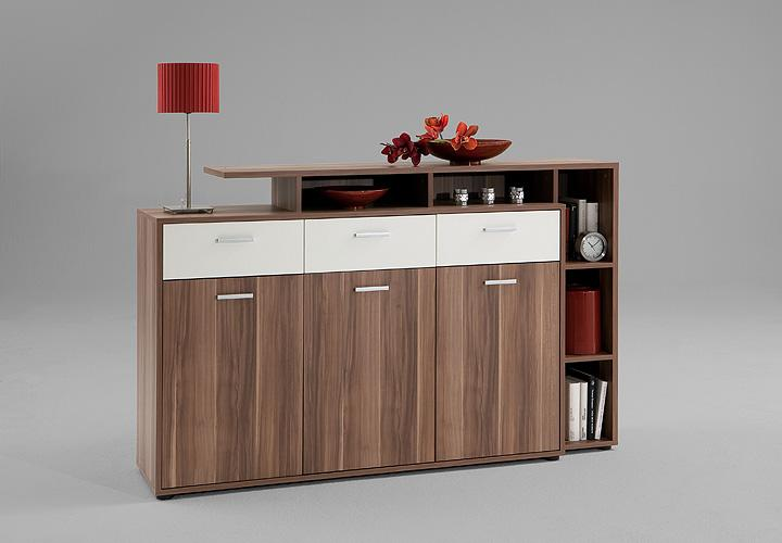 sideboard comida 2 highboard anrichte kommode schrank in nussbaum wei. Black Bedroom Furniture Sets. Home Design Ideas