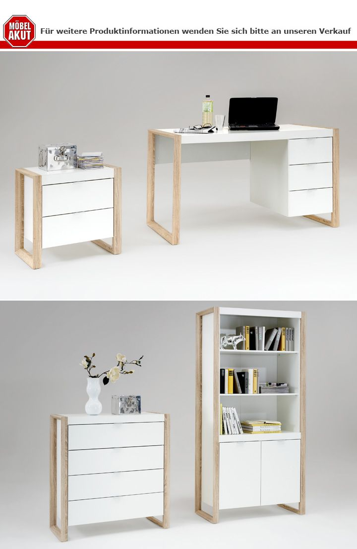 kommode frame sideboard anrichte b roschrank in wei eiche. Black Bedroom Furniture Sets. Home Design Ideas