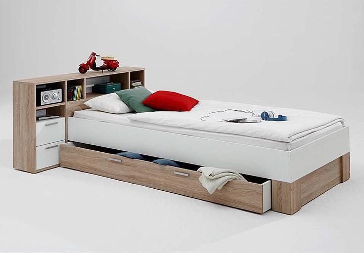 bett fabio einzelbett kinderbett kinderzimmerbett in eiche und wei 70x200 ebay. Black Bedroom Furniture Sets. Home Design Ideas