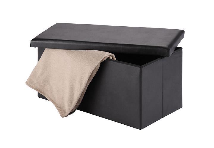 Sitzhocker LUGO 2 Hocker mit Deckel in schwarz mit Stauraum