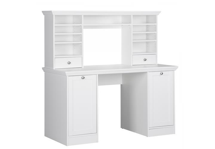 Schreibtisch LANDWOOD 32 mit Aufsatz Weiß Landhausstil