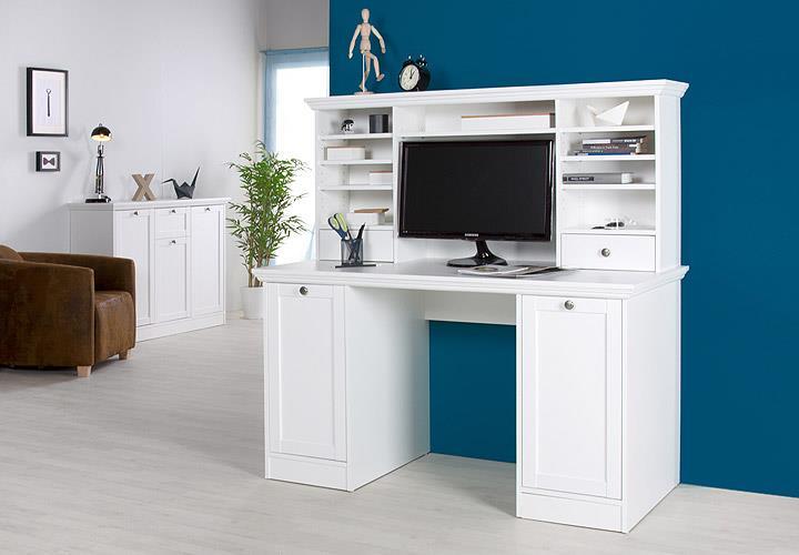 schreibtisch landwood 32 mit aufsatz wei landhausstil. Black Bedroom Furniture Sets. Home Design Ideas