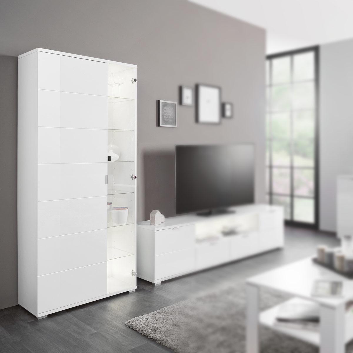 vitrine glossy standvitrine schrank buffet in wei hochglanz und sonoma eiche ebay. Black Bedroom Furniture Sets. Home Design Ideas