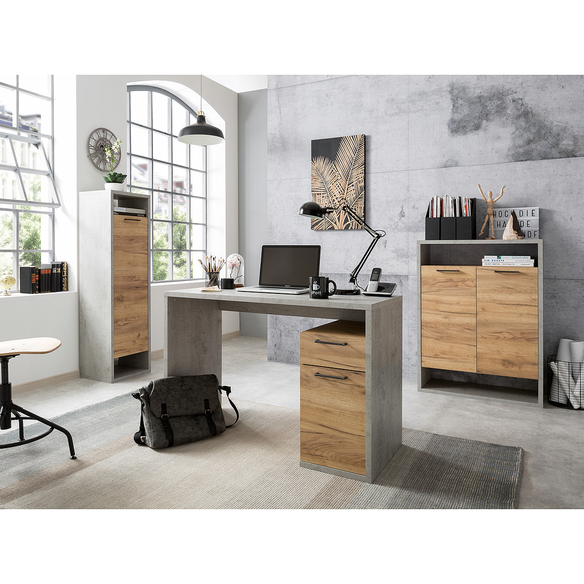 b roset 2 momo schreibtisch regal schrank home office in beton grau honig eiche ebay. Black Bedroom Furniture Sets. Home Design Ideas