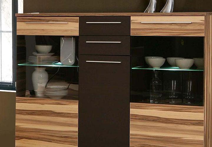 fondo highboard baltimore walnuss braun inkl led. Black Bedroom Furniture Sets. Home Design Ideas